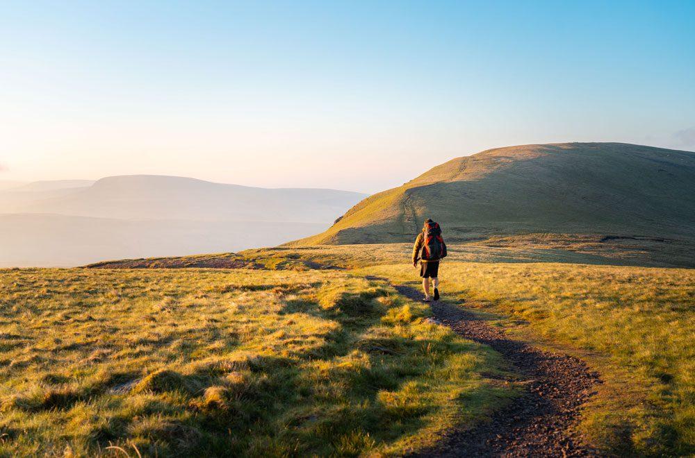 Man walk on mountain TEVA BRAND FILM